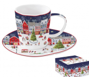 Easy Life Porceláncsésze+alj 250 ml, dobozban, Christmas Village